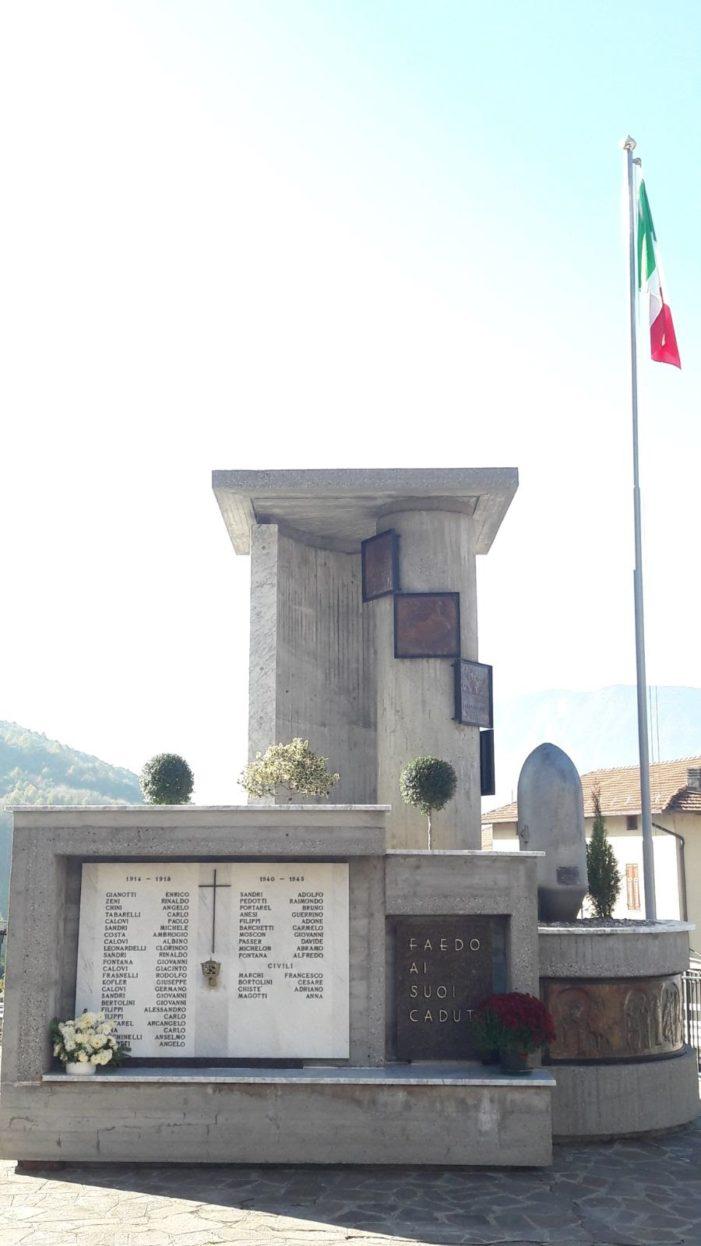 Faedo, restaurato il monumento ai caduti